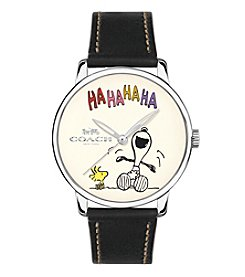 COACH Women's Peanuts® Snoopy 40mm Black Leather Strap Watch