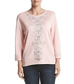 Alfred Dunner Center Embroidered Sweater
