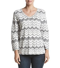 Alfred Dunner Zig Zag Biadere Sweater