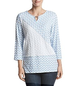 Alfred Dunner Texture Spliced Top