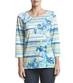Alfred Dunner Watercolor Stripe Floral Top
