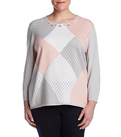 Alfred Dunner Plus Size Color Blocked Panel Sweater