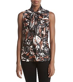 Nine West Printed Tie Neck Blouse
