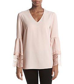 Nine West Lace Trim Bell Sleeve Blouse