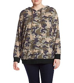 Pink Rose Plus Size Camouflage Pattern Hoodie