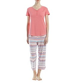 Intimate Essentials Short Sleeve Henley Top And Capri Pajama Set