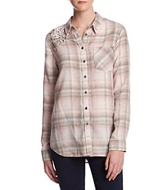 Hippie Laundry Jewel Detail Plaid Pattern Top