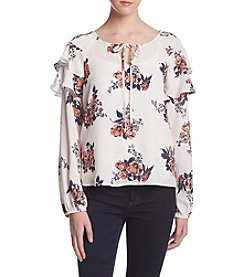 June & Hudson Floral Pattern Ruffle Shoulder Blouse
