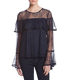 June & Hudson Allover Lace Ruffle Front Blouse