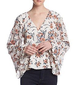 June & Hudson Floral Print Wrap Front Top