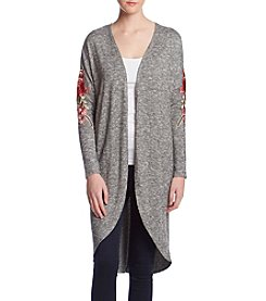 Gypsies & Moondust Floral Embroidery Detail Duster Sweater
