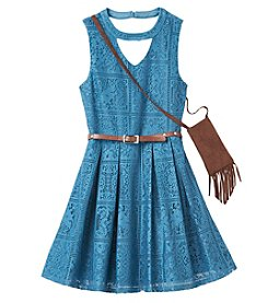 Beautees Girls' 7-16 Sleeveless Lace Dress With Purse