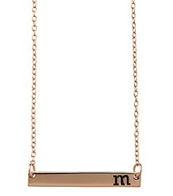 Athra Rose Goldtone Letter M Bar Necklace