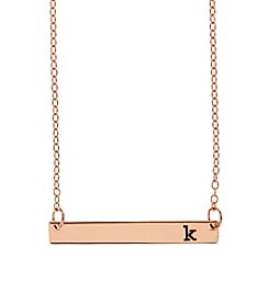 Athra Goldtone Letter K Bar Necklace