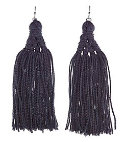 Relativity Silvertone Pierced Fringe Hang Short Tassel Earrings