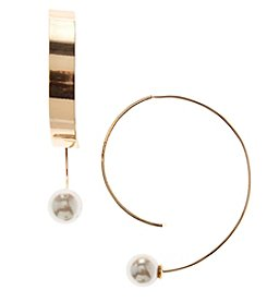 Relativity Goldtone Simulated Pearl Hoop Earrings