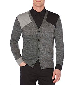 Perry Ellis Big & Tall Colorblock V-Neck Cardigan