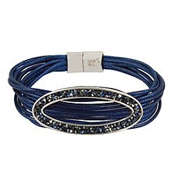 Kenneth Cole Silvertone Cord Magnetic Bracelet