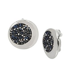 Kenneth Cole Rhodium Blue Stone Clip Earrings