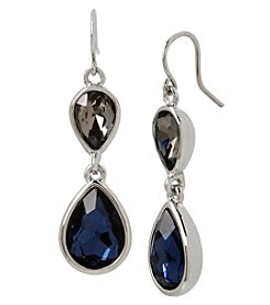 Kenneth Cole Rhodium Blue And Black Double Drop Earrings