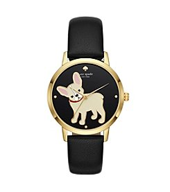 kate spade new york Women's Dog Black Leather Watch
