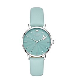 kate spade new york Women's Swan Pool Mint Leather Watch