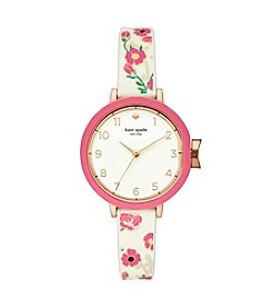 kate spade new york Women's Park Row Flower Rubber Watch