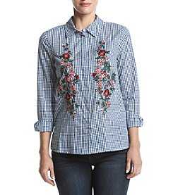 Ruff Hewn Floral Embroidery Detail Gingham Woven