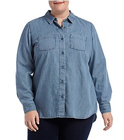 Ruff Hewn Plus Size Chambray Back Slit Hem Top