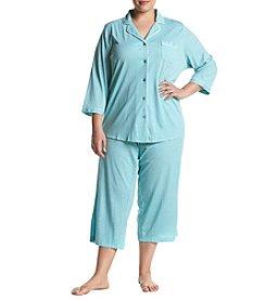 42fc622c50 Intimate Essentials 3 4 Sleeve Flanel Notch Collar And Capri Pajama Set