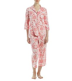 Intimate Essentials 3/4 Sleeve Flanel Notch Collar And Capri Pajama Set