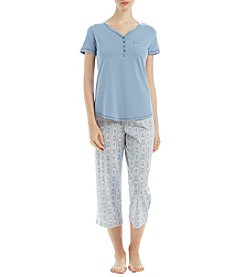 Intimate Essentials Short Sleeve Henley And Flanel Capri Pajama Set