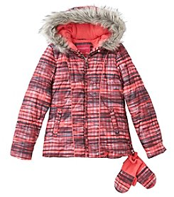London Fog Girls' 7-16 Spacedye Puffer Jacket And Mittens