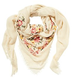Cejon Village Floral Embroidered Wrap Scarf