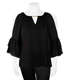 A. Byer Plus Size Cold Shoulder With Jewel Gigi Neck Top