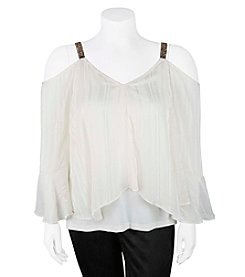 A. Byer Plus Size Bead Detail Strap Cold Shoulder Top