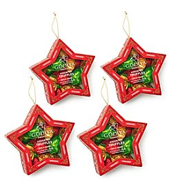 Godiva Chocolatier Set of 4 Holiday Star Ornament with Wrapped Chocolate Truffles