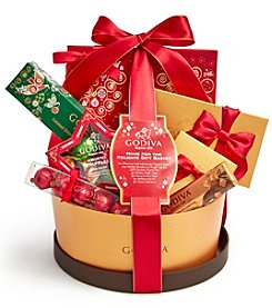 Godiva Chocolatier Home For The Holidays Gift Basket with 7 Holiday Chocolate Treats