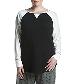 Relativity Plus Size Long Sleeve Waffle Sleep Top