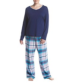Intimate Essentials Plus Size Plus Size Knit V-Neck Flannel Pajama Set
