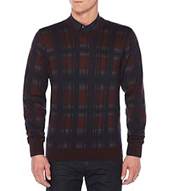 Perry Ellis Men's Big & Tall Plaid Crew Sweater