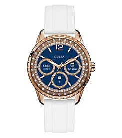 GUESS Women's Rose Goldtone Crystal Rubber Strap Smart Watch