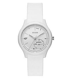 GUESS Unisex White Silicone Case Watch