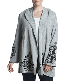 Democracy Plus Size Floral Embroidery Detail Hooded Cardigan