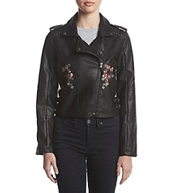 Sequin Hearts Floral Embroiderey Detail Moto Faux Leather Jacket