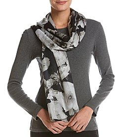 Calvin Klein Shadow Striped Floral Scarf