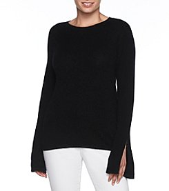 Premise Cashmere Bell Sleeve Crewneck High-Low Pullover