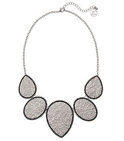 Erica Lyons Silvertone Frontal Necklace