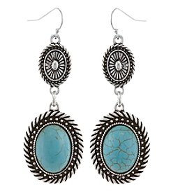 Erica Lyons Silvertone Simulated Turquoise Double Oval Earrings