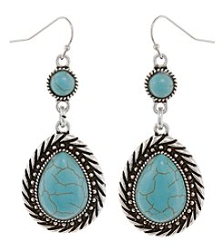 Erica Lyons Silvertone Simulated Turquoise Teardrop Earrings